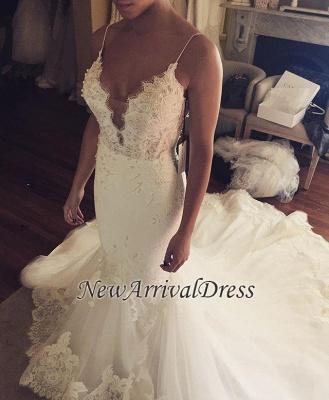 Tulle Sexy Spaghetti Straps Mermaid Elegant Lace Appliques Wedding Dress Cheap BA5042_1