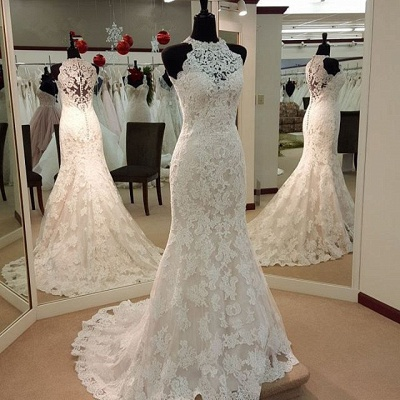 Vintage High Neck Mermaid Lace Wedding Dresses Cheap Sleeveless Vintage Bridal Dress BA3705_3