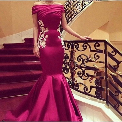 Elegant Mermaid Appliques Prom DressesOff-the-Shoulder Ruffles Evening Gowns_2
