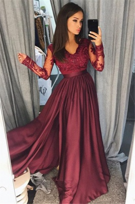 Long Sleeve Burgundy Lace Prom Dress Cheap | V-neck New Arrival Formal Formal Dress with Slit FB0205_1