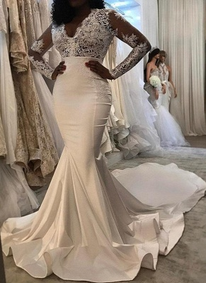Sexy Lace Mermaid Wedding Dresses Cheap | Long Sleeve Wedding Dresses_1