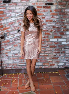 Short Sequins Short-Sleeves Sheath Elegant Homecoming Dresses_3