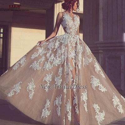 Elegant Tulle Sleeveless A-Line Appliques Evening Dresses_1