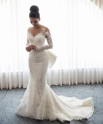 Gorgeous Mermaid Wedding Dresses with Sleeves | Bowknot Detachable Overskirt Bridal Dresses_3