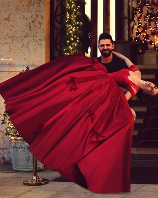 Ball Gown Wedding Dress Cheap Off The Shoulder Burgundy with Bowknots Floor Length Bridal Gowns_3