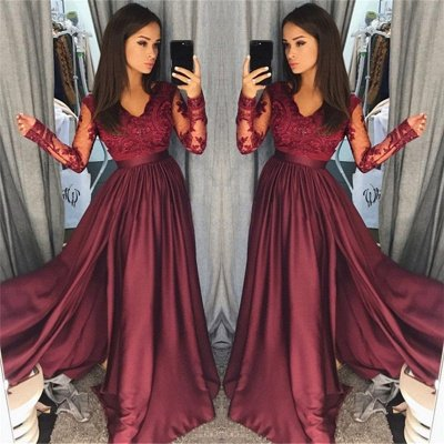 Long Sleeve Burgundy Lace Prom Dress Cheap | V-neck New Arrival Formal Formal Dress with Slit FB0205_3