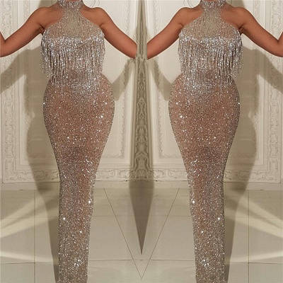 Halter Sleeveless Long Prom Dresses with Tassels | Mermaid Sparkle Sequins Cheap Formal Gowns_3