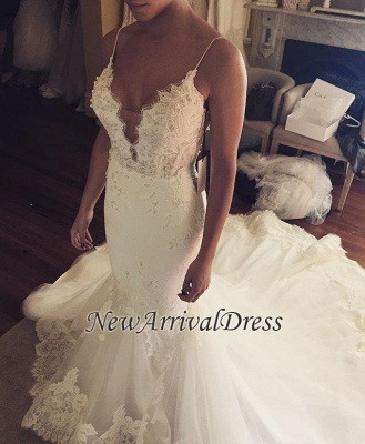 Tulle Sexy Spaghetti Straps Mermaid Elegant Lace Appliques Wedding Dress Cheap BA5042_1