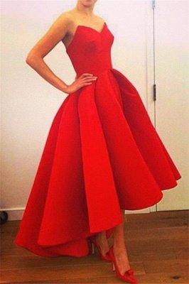 Sexy Red Sweetheart Hi-Lo Satin Simple Design Elegant Prom Dress_2