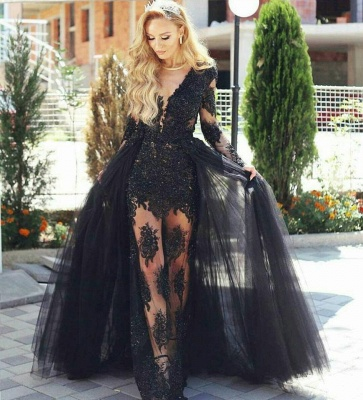 Glamorous Black Tulle Lace Prom Dresses Online | Long Sleeve Formal Gowns with Detachable Skirt BA7963_3