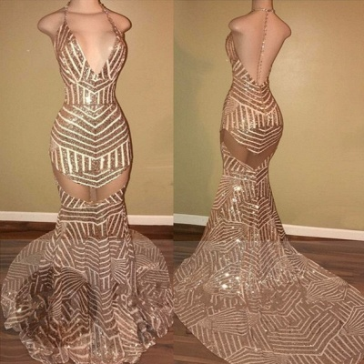 Halter Sheer Mermaid Open Back Sequins Long Prom Dresses Cheap LY163_2