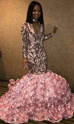 V-neck Long Sleeve Pink Flowers Prom Dresses Cheap |  Mermaid Appliques Long Evening Dress bc1363