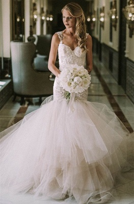 Gorgeous Lace Mermaid Bridal Dresses | New Arrival Tulle Wedding Dresses Cheap_1
