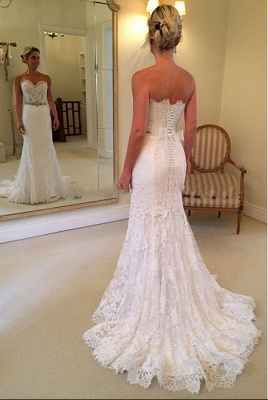 Schönes Schatz-weißes Spitze-Hochzeits-Kleid-populäres langes Kristall-Brautkleid für Frauen_2