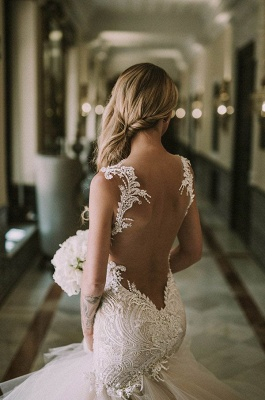 Gorgeous Lace Mermaid Bridal Dresses | New Arrival Tulle Wedding Dresses Cheap_4