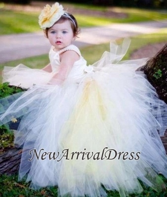 Sleeveless Flower-Girl-Dresses Tull Scoop Ball-Gown Pearls Pageant-Dress_3