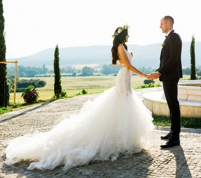 Gorgeous Lace Mermaid Bridal Dresses | New Arrival Tulle Wedding Dresses Cheap_3