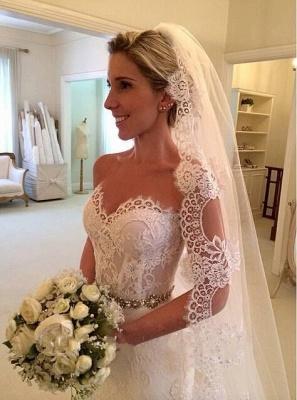 Schönes Schatz-weißes Spitze-Hochzeits-Kleid-populäres langes Kristall-Brautkleid für Frauen_3