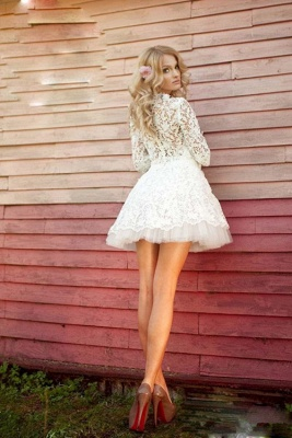 3D-Floral Appliques Half Sleeve Sexy Short Wedding Dresses Cheap Online_3