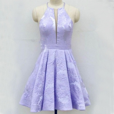 Cute Lace Lavender V-neck Sleeveless Short A-line Homecoming Dress_4