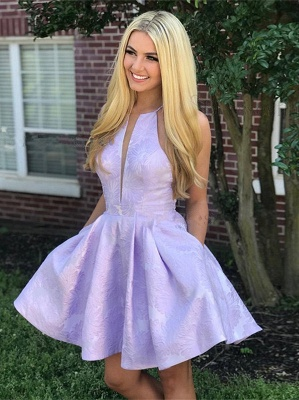Cute Lace Lavender V-neck Sleeveless Short A-line Homecoming Dress_1