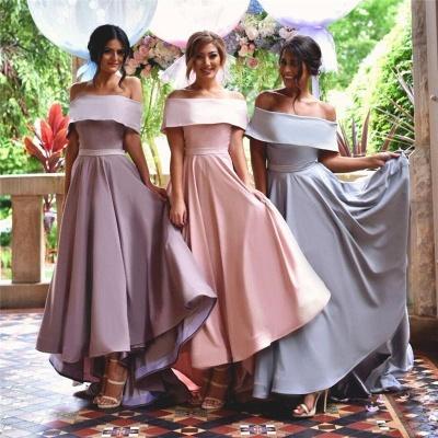Elegant Off-the-shoulder A-line Sweep Train A-line Bridesmaid Dress_4