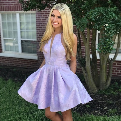 Cute Lace Lavender V-neck Sleeveless Short A-line Homecoming Dress_3