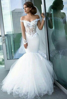 Long Sleeve Tulle Elegant Lace Appliques Mermaid Custom Made Off The Shoulder Wedding Dress Cheap_2