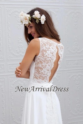 Sleeveless V-Neck Bowknot Chiffon Lace Appliques Simple Summer Beach Wedding Dresses Cheap_1