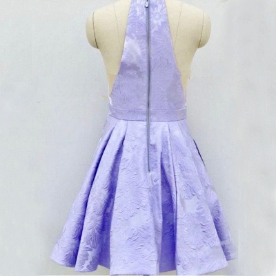 Cute Lace Lavender V-neck Sleeveless Short A-line Homecoming Dress_5