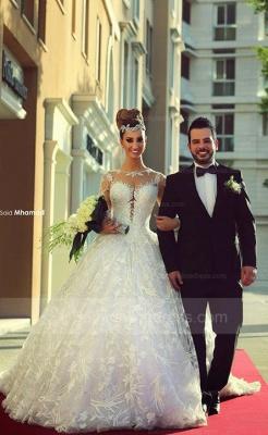 Long Sleeve Ball Gown Wedding Dress Cheap Court Train Custom Made Bridal Gowns_1