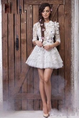 3D-Floral Appliques Half Sleeve Sexy Short Wedding Dresses Cheap Online_4