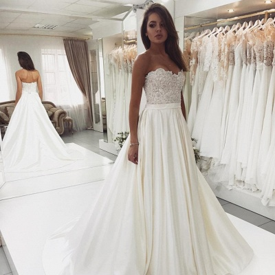 2019 Glamorous Lace Satin Sweetheart Wedding Dresses | Open Back A-Line Cheap Bridal Gown BC0715_3