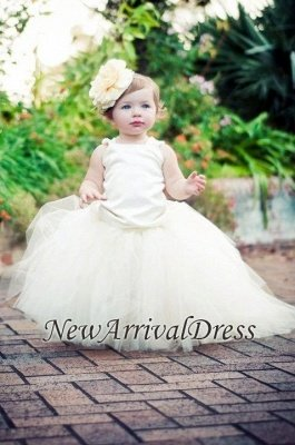 Sleeveless Flower-Girl-Dresses Tull Scoop Ball-Gown Pearls Pageant-Dress