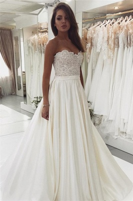 2019 Glamorous Lace Satin Sweetheart Wedding Dresses | Open Back A-Line Cheap Bridal Gown BC0715_1