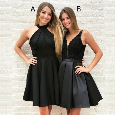Newest Black A-line Sleeveless Short Homecoming Dress | Two Styles A, B_4