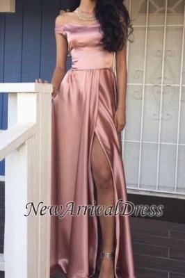 Off-the-Shoulder A-line Rose Front-Slit Pink Shiny Prom Dresses_1