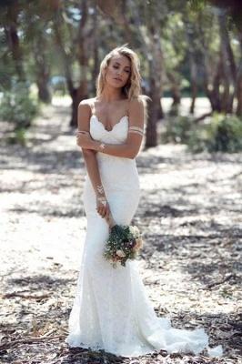 Beach Custom Made Sexy Spaghetti Straps Summer Mermaid Backless Lace Appliques Wedding Dresses_2