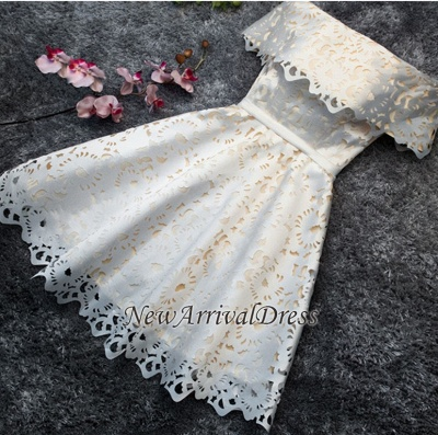 Simple Lace Custom Made A-line Off The Shoulder Sexy Short Homecoming Dresses_1