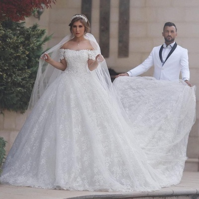 Arabic Off The Shoulder Sweetheart Lace-Up-Back Custom Made Ball Gown Wedding Dresses Cheap_4