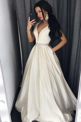 Modern V-neck Sleeveless A-line Floor-length Prom Dress_1