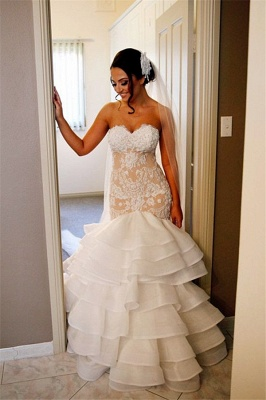 Elegant Lace Mermaid Wedding Dresses Cheap Tiered Open Back Strapless Wedding Gowns BA1540_4