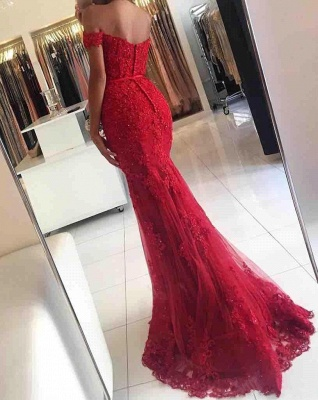 Red Off-the-shoulder Lace Appliques Mermaid Glamorous Evening Dress_7