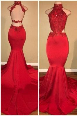 Sleeveless Open Back Mermaid Long Prom Dresses Cheap Plus Size   Lace Formal Dresses for Women_3