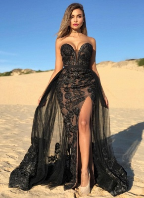 Sexy Black Sweetheart Prom Dresses Lace | Beaded Side Slit Overskirt Cheap Formal Dress Long_1
