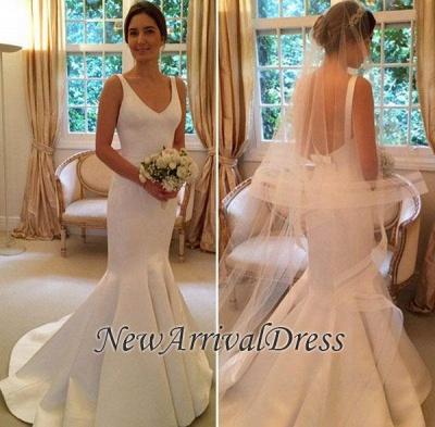 Open Back Elegant V-Neck Sleeveless Mermaid Wedding Dresses Cheap_1