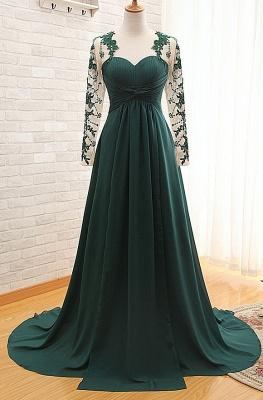 Dark Green Long Sleeve Formal Dresses for Women | Appliques Chiffon Evening Gowns_1