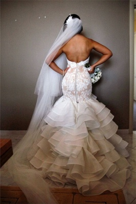 Elegant Lace Mermaid Wedding Dresses Cheap Tiered Open Back Strapless Wedding Gowns BA1540_3
