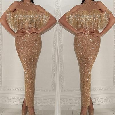 Halter Champagne Gold Sequins Prom Dresses Cheap  | Sheath Long Tassels Formal Dress_3