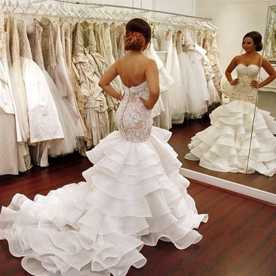 Elegant Lace Mermaid Wedding Dresses Cheap Tiered Open Back Strapless Wedding Gowns BA1540_6